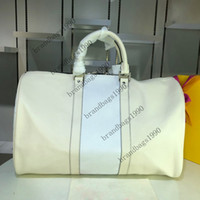 Wholesale big fashion tote for sale - Group buy 2020 new Big Flower CM Classical fashion women traveling Bag genuine leather Trim luggage duffel bag Canvas handbag