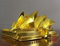 oyuncakları bir araya getirmek toptan satış-Yapı Taşı Tuğla Kitleri Oyuncaklar 3D Metal Bulmaca Sydney Opera binası Bina Modeli Kitleri DIY 3D Lazer Kesim Araya Bina Yapboz Oyuncaklar