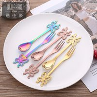 Wholesale brown forks for sale - Group buy Butterfly Stirring Spoon Forks Stainless Steel Scoop Western Style Food Kitchen Tableware Gift Fashion yj UU