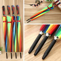 damen lange griffe regenschirme großhandel-Ladies'Windbreak Der farbige Regenschirm 16K Korean Creative Rainbow Umbrella Long Handle Automatic Umbrella T9I0015