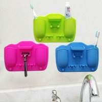 Wholesale suction cup storage for sale - Group buy Silicone Toothbrush Holder Wall Suction Cups Toothpaste and Shaver Organizer Suction Hooks Storage Rack Bathroom Accessories CCA10874