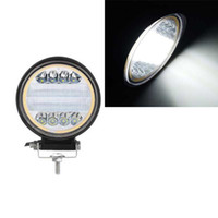 Wholesale halo lights cars resale online - 1PC White LED Car Work Light with Yellow Halo Ring for Off road SUV Trucks