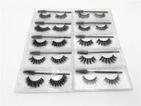 Wholesale makeup brushes b resale online - 3D Mink Eyelash False Eyelashes Natural Long Fake Eyelash Extension with Portable Eyelashes Brush Thick Faux D Mink Eyelashes Eye Makeup