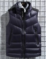 casaco de design para baixo venda por atacado-2019 esportes para baixo dos homens colete esportes ao ar livre projeto jaqueta gola de inverno colete colete branco densamente pato jaqueta - 0126