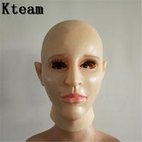 красивые маски для хэллоуина для женщин оптовых-Женская маска из латекса силиконовая Machina реалистичные человеческие маски для кожи Хэллоуин танцевальный маскарад Красивая маска Crossdress раскрыть женщина девушка