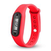 relógios vermelhos lcd digital venda por atacado-Digital Red LCD Assista Run Etapa curta distância de calorias pedômetro Silicone Calorie Esporte pulseira relógio para drishipping N0807