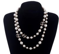 Wholesale white beaded chain for sale - Group buy 2019 luxury style layers necklace pearls sweaters necklaces designer free lady Perfume number women neckless long necklace collares