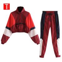 ingrosso vestiti di colore rosso-Set donna vintage colore rosso contrasto giacca da baseball bomber pullover donna top e matita jogging pantaloni abiti due pezzi set j190716
