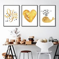 Wholesale graffiti art posters for sale - Group buy Golden Love Poster Print Letter Canvas Painting Picture Aisle Home Wall Art Graffiti Bedroom Modern Minimalist Decoration Custom