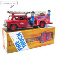 brinquedos de vento velhos venda por atacado-Carro clássico Lata Wind Up Clockwork Brinquedos Caminhão de Bombeiros Tin Toy Para Crianças Adultos Coleção Educacional Presentes SH190913