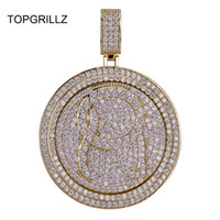 ingrosso collana spinner in argento -Topgrillz Qc Spinner Lettera Pendente Collana Iced Out Hip Hop / punk Oro Argento Catene Colorate Per Gli Uomini Cz Charms Regalo Dei Monili J190713