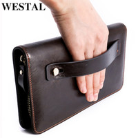 Wholesale wallet for documents resale online - Westal Genuine Leather Long Wallet For Men boy Wallet Purse For Document Male Portomonee Zipper Clutch Bag With Handle Y19052501