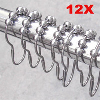 Wholesale rollerball shower curtain hooks resale online - 12 pack Bath Curtain Rollerball Shower Curtain Rings Hooks Roller Polished Satin Nickel Ball Curtain Accessories