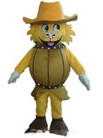 traje de la mascota del león amarillo al por mayor-2018 Alta calidad caliente un traje de mascota de cerveza león león con sombrero amarillo para que adulto use