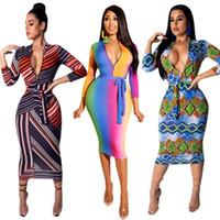damas vestidos cuello diseño al por mayor-Tamaño (S ~ XXXL) 2019 diseño de ropa africana Dashiki viste vestidos casual africanos para dama / mujer