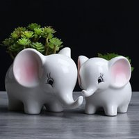 Cute succulent pot ceramic elephant animal shape planter Christmas gift bonsai desk home balcony garden decoration