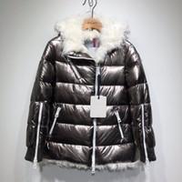 abrigos de oveja al por mayor-Mujeres Moda Parkas invierno Pato señoras de la chaqueta de piel de las ovejas abajo dentro Warm Coat Femme largo cuello de la chaqueta de la capilla de Down