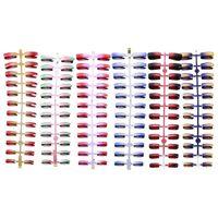 cores do terno misturado venda por atacado-Misturado 6 Cores Unhas Postiças Compõem Excelente ABS Artificial Cheio Curto Rodada Cabeça Chata Dicas Múltiplas Cores Terno Um Demanda