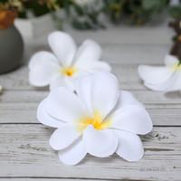 Wholesale frangipani flowers wedding decorations for sale - Group buy 50 Pieces White Artificial Hawaiian Plumeria Frangipani Silk Flowers heads for wedding decoration B47