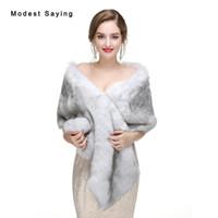 ingrosso spalline da sposa d'argento-Nuovo 2017 Silver Winter Faux Fur Wedding Wraps Moda imitazione Mink capelli da sposa Shrugs scialli Warm Boleros Wedding