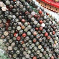 jasper boncuk ipleri toptan satış-10 Strands Afrika Bloodstone Jasper Boncuk 4mm-12mm Gevşek Taş Doğal Bood Taş Pürüzsüz Yuvarlak Boncuk Derin Kırmızı ve Forrest Yeşil Kaynağı