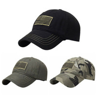 şapka askeri toptan satış-2019 Yeni Erkek American Sports Ton Bayrağı Yama Nakış Kavisli Cap Askeri Taktik Operatör Ayrılabilir Beyzbol Ordu Kamuflaj Hat