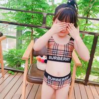 Wholesale girl children bikinis resale online - 2019 New Summer girls Close fitting elastic stripe swimsuit girls split Two pieces Swimwear children stripe bikini