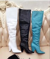 Wholesale thigh high resale online - Femininas top quality high heel over the knee boots Genuine leather women slip on Thigh high Boots Femininas Sexy buckle boots