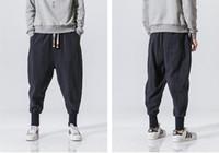 ropa de algodón japonés al por mayor-Nueva tienda pantalón de lino de algodón casual japonés pantalón de harén masculino pantalón de jogging con banda de tobillo ropa tradicional china