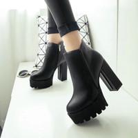 siyah ayak bileği botları kalın topuk toptan satış-Yeni Kadın Modası Yan Fermuar Ayak Bileği Boots Platformu Kalın Yüksek Topuk 12 cm Bayan Botları Kış Kadın Ayakkabı 2 tarzı Siyah boot