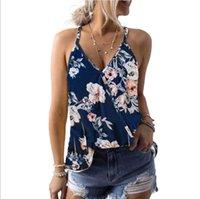 cartazes sexy venda por atacado-Womens Sexy Tops Planta tropical posters T-shirt Vest Feminino Verão 2019 Nova V-neck Sling Magro shirt com 5 cores