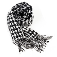 Wholesale checkered scarves resale online - Mens Checkered Scarf Warm Scarves for Men Cashmere Like Shawl Houndstooth Blanket Plaid Wrap with Tassel Check Neckerchief