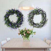 dias de lavanda venda por atacado-Grinalda Garland de utensílios domésticos Comemorações do Dia de casamento Simula Lavender Home Porta Farmhouse Decoração Wianek