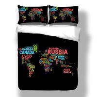ingrosso comforter di lusso 3d-Mappa del mondo Stampato Queen Set di biancheria da letto Comodino King Twin Size Luxury 3d Bed Set copripiumino Lino Tessili per la casa