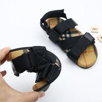 Wholesale patchwork kids sandals for sale - Group buy Style Toddler sandals summer fashion shoes Vintage Plaid Tear Resistant Belt Sandals for Kids black Red stripe color size