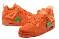 venta de zapatos tejidos al por mayor-2019 Barato nuevo para hombre 4 IV zapatos de baloncesto 4s tejido juego Rojo azul verde naranja j4 aire vuelo zapatillas botas a4 en venta US7-13