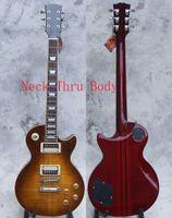 pescoços de guitarra lp venda por atacado-Alta Qualidade Guitarra Elétrica, explosão de tabaco, Pescoço através do corpo lp guitarras, atualizado ferragens de qualidade, corpo falmed sólido maple