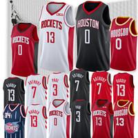 malhas de foguetes venda por atacado-NCAA Houston Jerseys Foguetes James 13 Harden Russell 0 Westbrook Carmelo 7 Anthony Hakeem 34 Jérsei Olajuwon