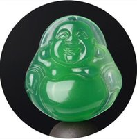 ingrosso giada di ghiaccio verde-Ciondolo in giada naturale per uomo e donna in giada verde dorato