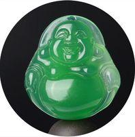 jade verde hielo al por mayor-Colgante de jade natural para hombre y mujer Agata Jade Calcedonia Hielo verde Buda colgante de jade