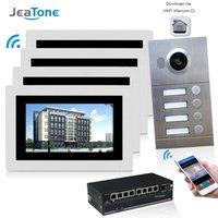 tela de zona venda por atacado-JeaTone WIFI IP Telefone Video Da Porta Intercom Sistema de Vídeo Campainha 7 '' Tela Sensível Ao Toque para 4 Pisos Apartamento / 8 Zone Alarm Suporte Telefone Inteligente