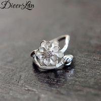 925 dame ring blume großhandel-DIEERLAN Böhmischen Retro 925 Sterling Silber Große Lotusblume Ringe für Frauen Damen Statement Schmuck Hochzeit Fingerringe