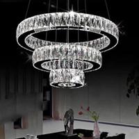 кольцо с бриллиантами оптовых-AC100-240V современные светодиодные люстры длинные кристаллы бриллиантовое кольцо светодиодные лампы из нержавеющей стали подвесные светильники Cristal LED люстра блеск