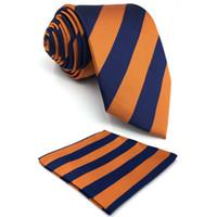 gravatas laço alaranjado venda por atacado-E27 Laranja Marinha listrado de seda gravata dos homens do vestido de casamento Laços para Marca masculina New Classic laço quadrado do bolso Set 63