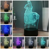 Wholesale llama decor for sale - Group buy Souvenir Gift Llama Game Fans Gifts USB Touch Color Chnage D LED Lava Night Light Illusion Child Kids Man Boys Room Decor Birthday Gifts