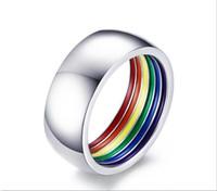 prens gelin yüzüğü toptan satış-Moda 316L Titanyum Paslanmaz Çelik Emaye Gökkuşağı LGBT Lezbiyen Gay Düğün Nişan Band için Pride Yüzük yüzükler boyutu 7-12