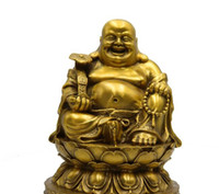 heykeller toptan satış-Pure copper Maitreya opening gift home decorations pure copper Maitreya Buddha statue decoration gifts