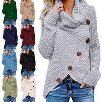 malha tartaruga pescoço aquecedor venda por atacado-Mulheres Botão camisola de malha Casual lã Turtle Gola subida Crocheted Enrole pulôver Chunky Aqueça Xmas Outwear Brasão LJJA3283-4