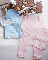 Wholesale baby hat scarf pink resale online - Newborn Baby Romper Boys Girl One Piece Dress Cotton Baby Clothing Suits Jumpsuit Hat Bib Scarf Set