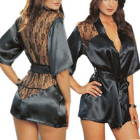 sexy hot size size teddy al por mayor-Lencería sexy Robe Vestido Mujeres Porno Lencería Sexy Hot Erotic Underwear Plus Size Nightwear Disfraces Sexuales Teddy Exotic Apparel